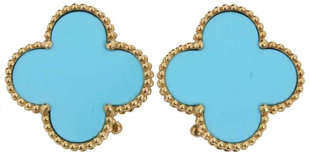 Van Cleef & Arpels Alhambra Turquoise Earrings.