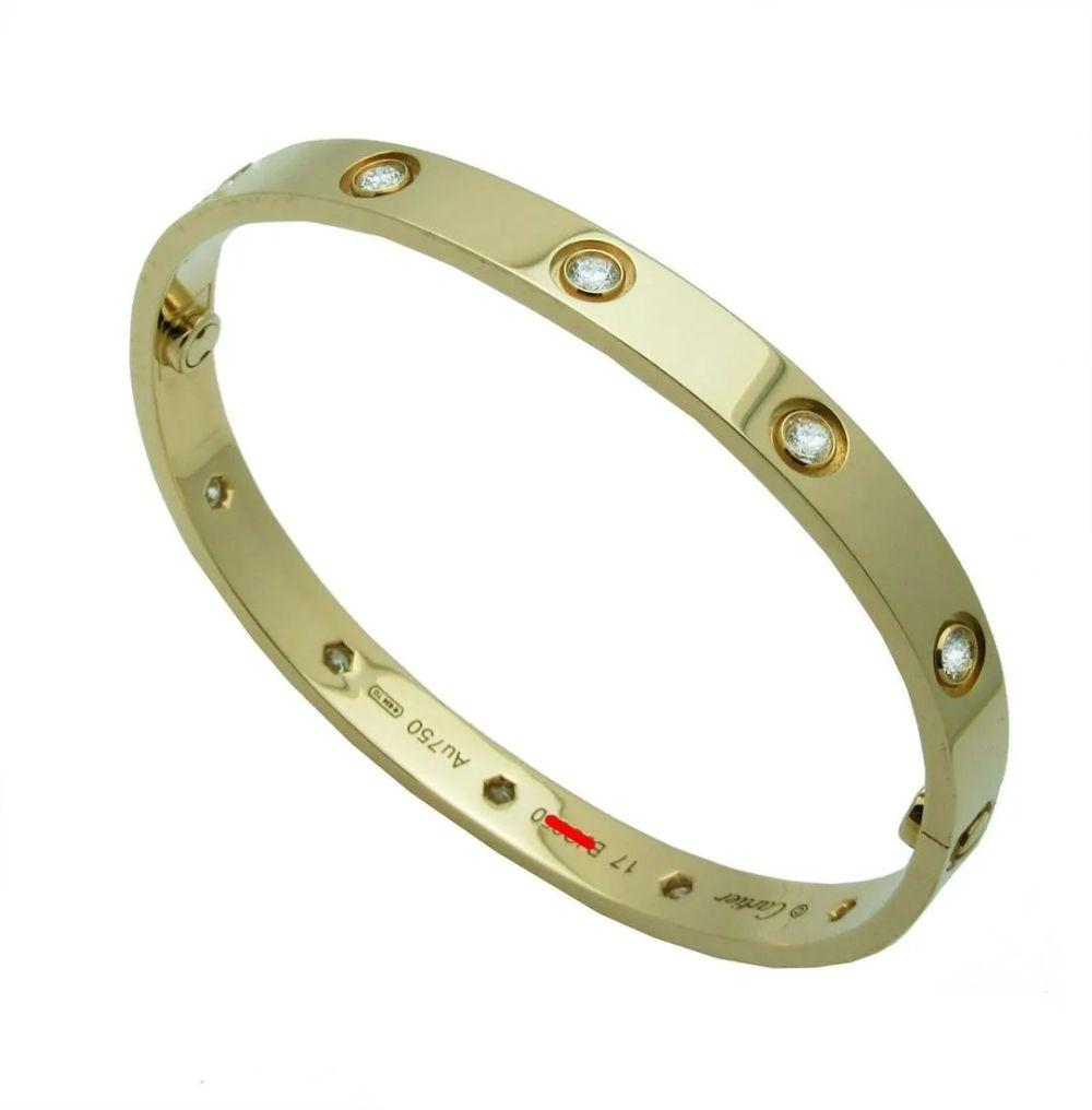 Cartier LOVE Yellow Gold 10 Diamond Bracelet Size 17