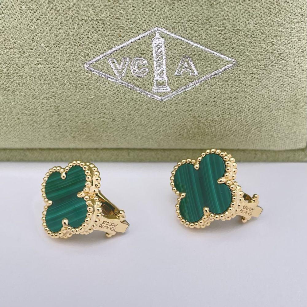 Van Cleef & Arpels Alhambra Malachite Earrings