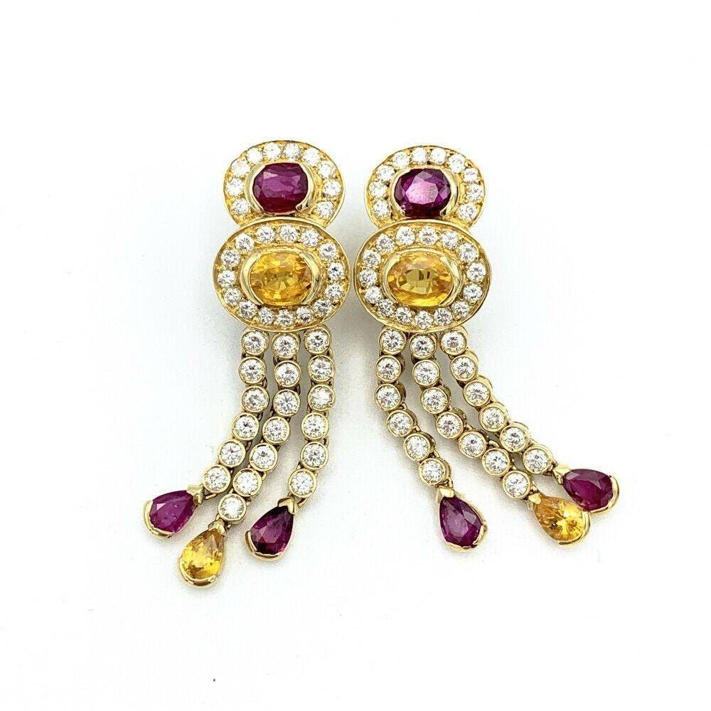 18K Gold w/ 7ctw Diamond Ruby & Yellow Sapphire Drop