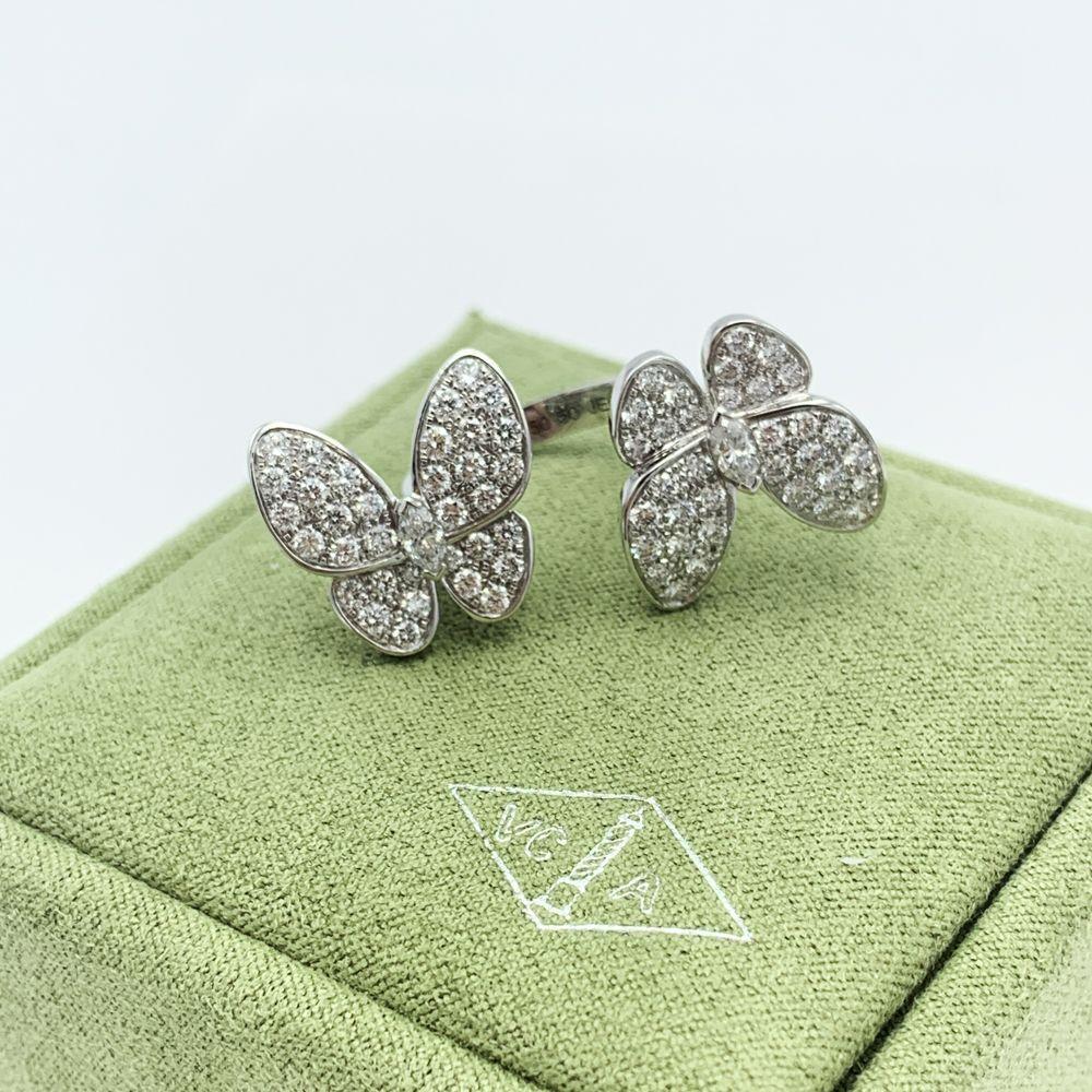 Van Cleef & Arpels 18K White Gold & 1.67ct Diamond Two