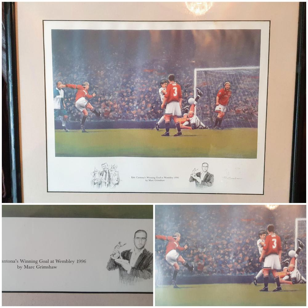 Lot 41: Framed Print showing Eric Cantona's scoring the winning goal in the FA Cup Final against Liverpool