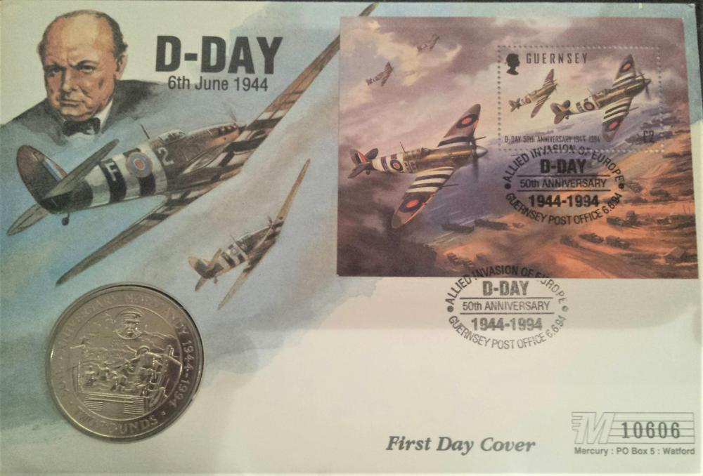Lot 356: First Day Cover which has coin included celebratng D Day Anniversary