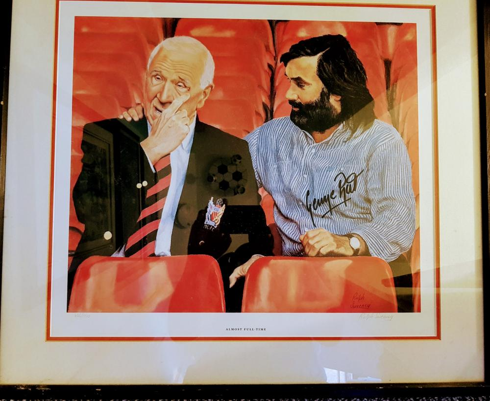 Lot 9 - George Best And Sir Matt Busby Framed Photo. Hand Signed