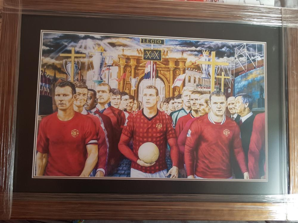 Lot 10 - Print of the Original Painting of Manchester United'd 20th Premier League Win. RARE Item. Limited Edition of 100 prints.  No 1 is framed and remaining 49 are unframed.