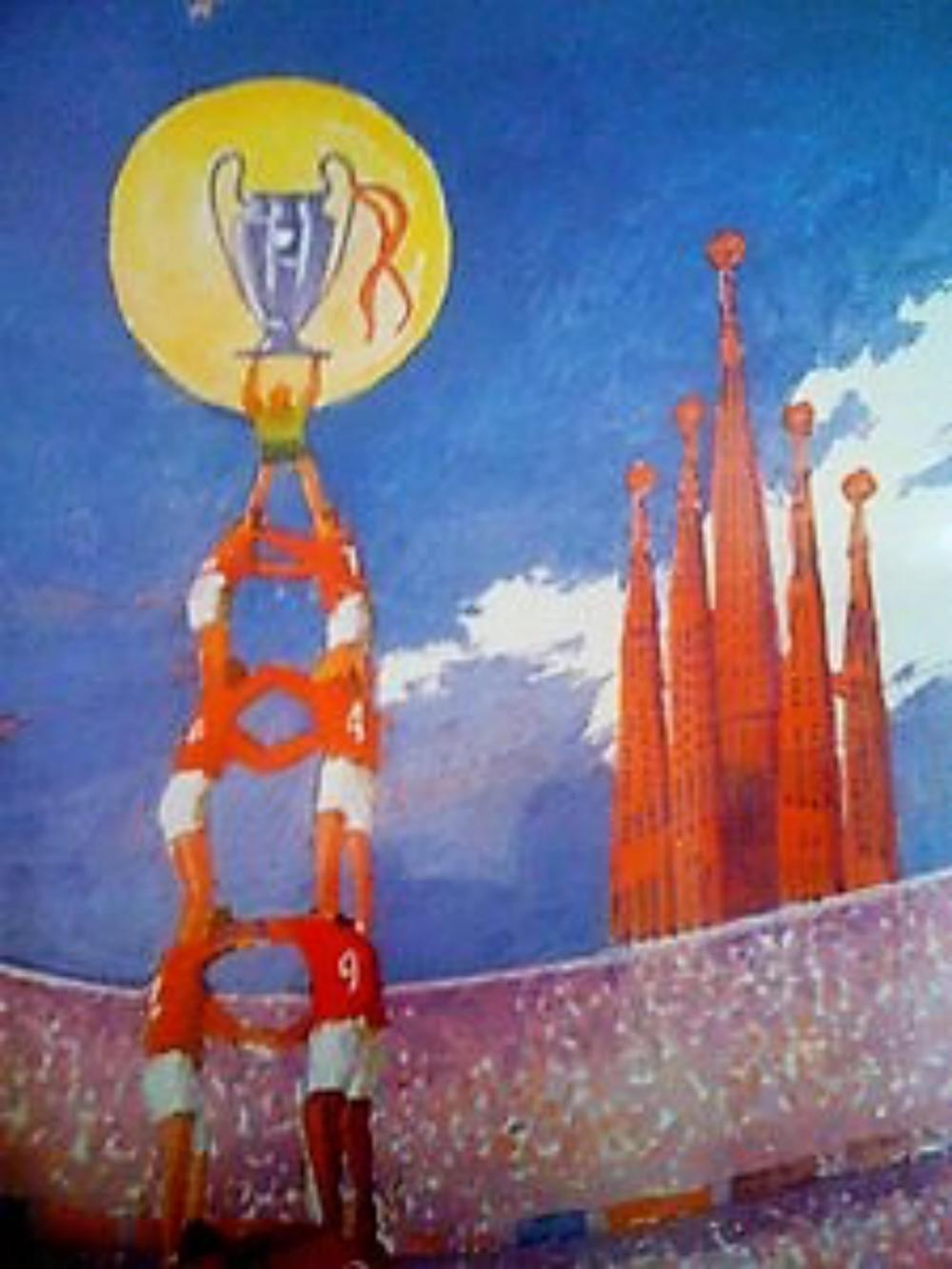 Lot 14 - 1999 Treble Celebration Print by Spanish Artist - The 1998?99 season was the most successful season in the history of Manchester United Football Club. After finishing the previous season without winning any titles, United won a