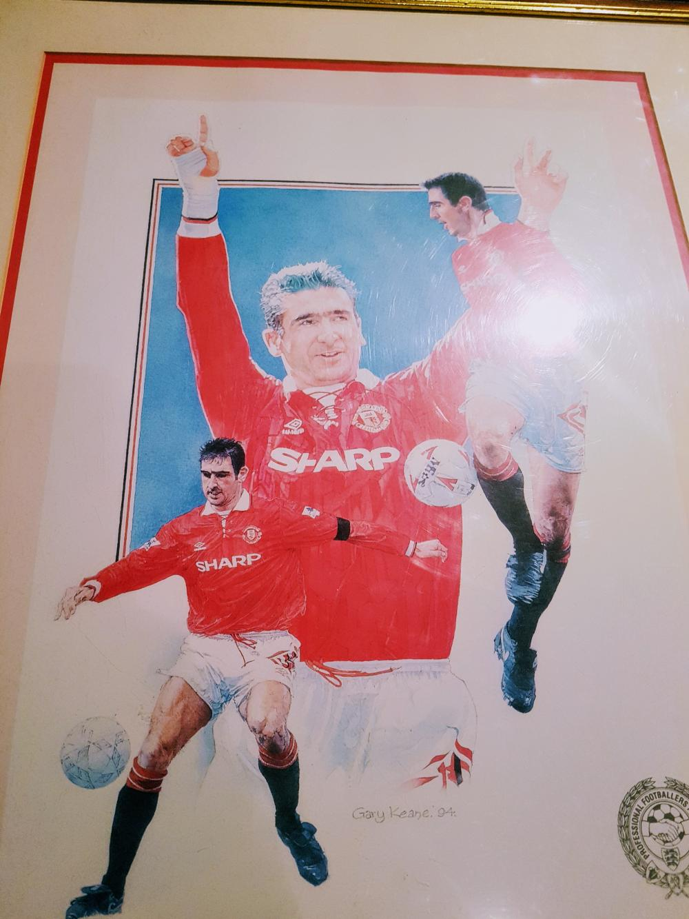 Lot 30 - Signed & framed 1994 print of LEGEND Eric Cantona (PFA Player of the Year). Daniel Pierre Cantona born 24 May 1966) is a French actor and former international footballer for the French national team. He played for Auxerre, Martigues,