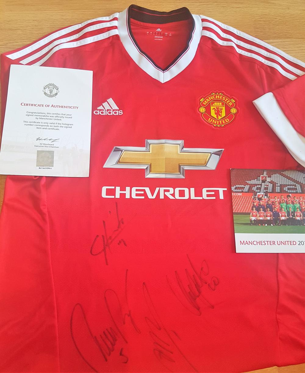 Lot 63 - Team Signed Football Shirt from Manchester United signed by 4 players