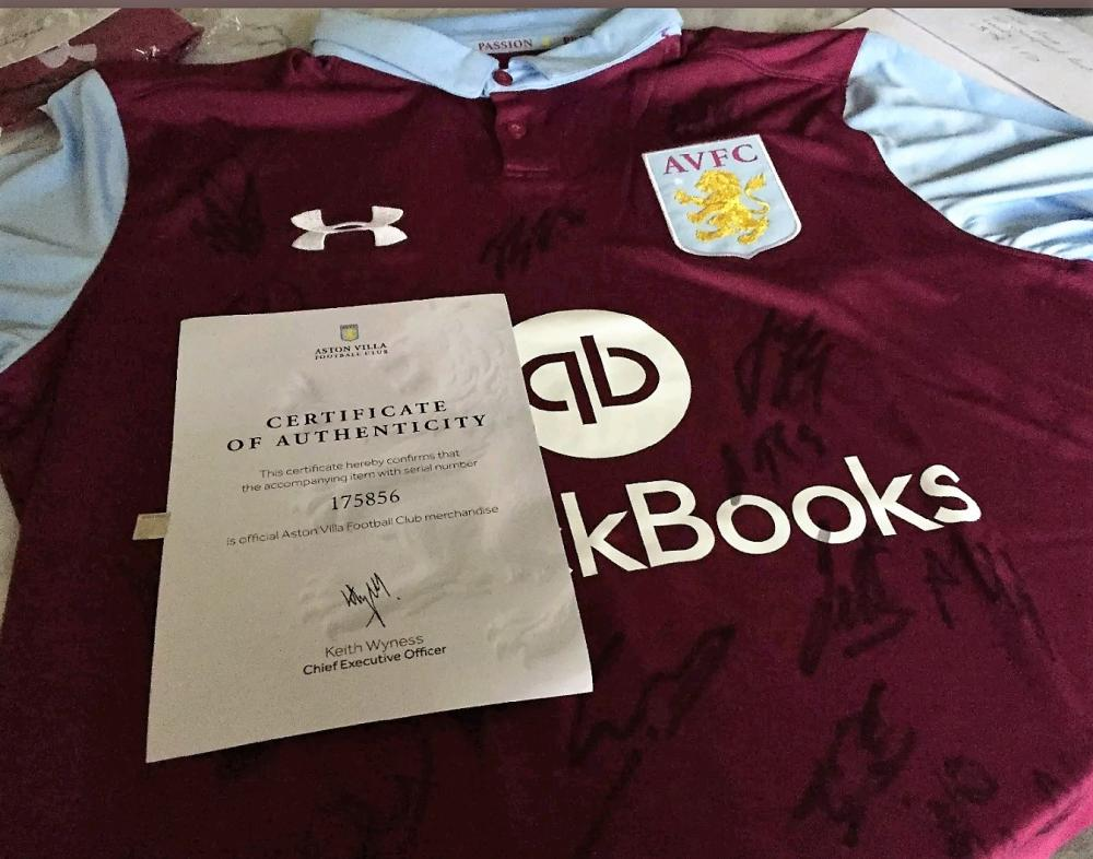Lot 65 - Team Signed 2016 / 2017 Aston Villa Football Shirt direct from the club.