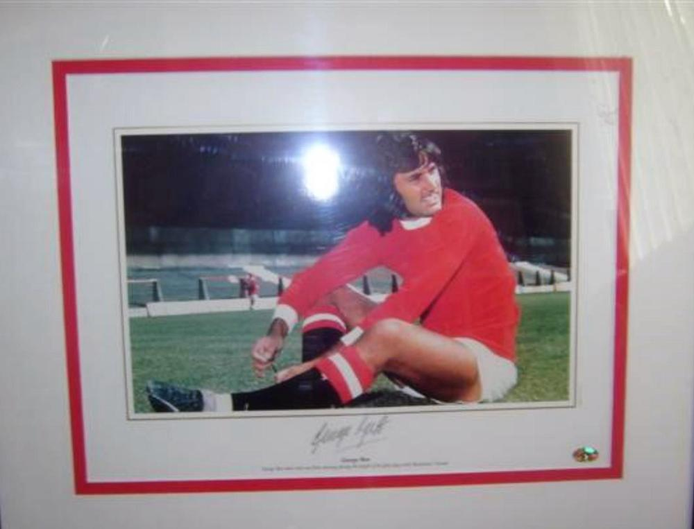 Lot 71 - Signed George Best picture (best sitting) - former Manchester United and Northern Ireland Legend - FIFA Player of the Century and  World Soccer  Greatest Player of the 20th century.
