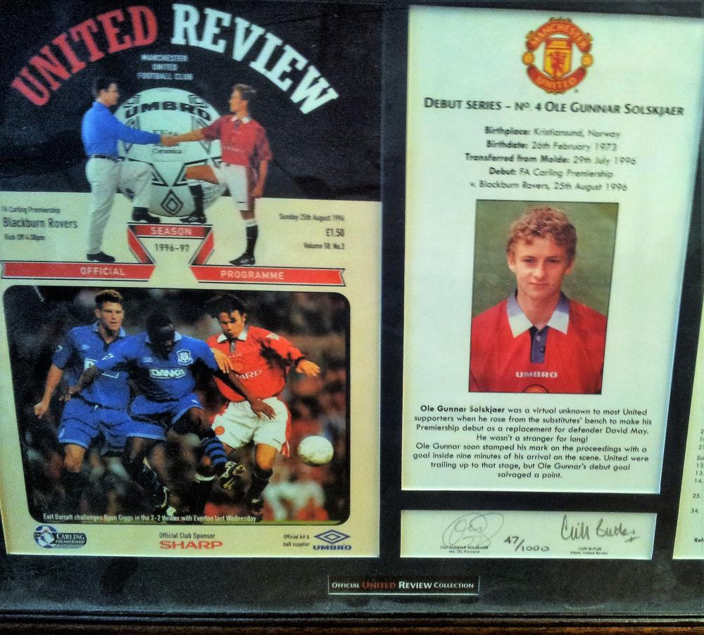 Lot 80: Limited Edition framed and signed match programme which is dedicated to celebrate Olle Gunnar Solsjaers Debut match.   Comes direct from Manchester United Football Club.