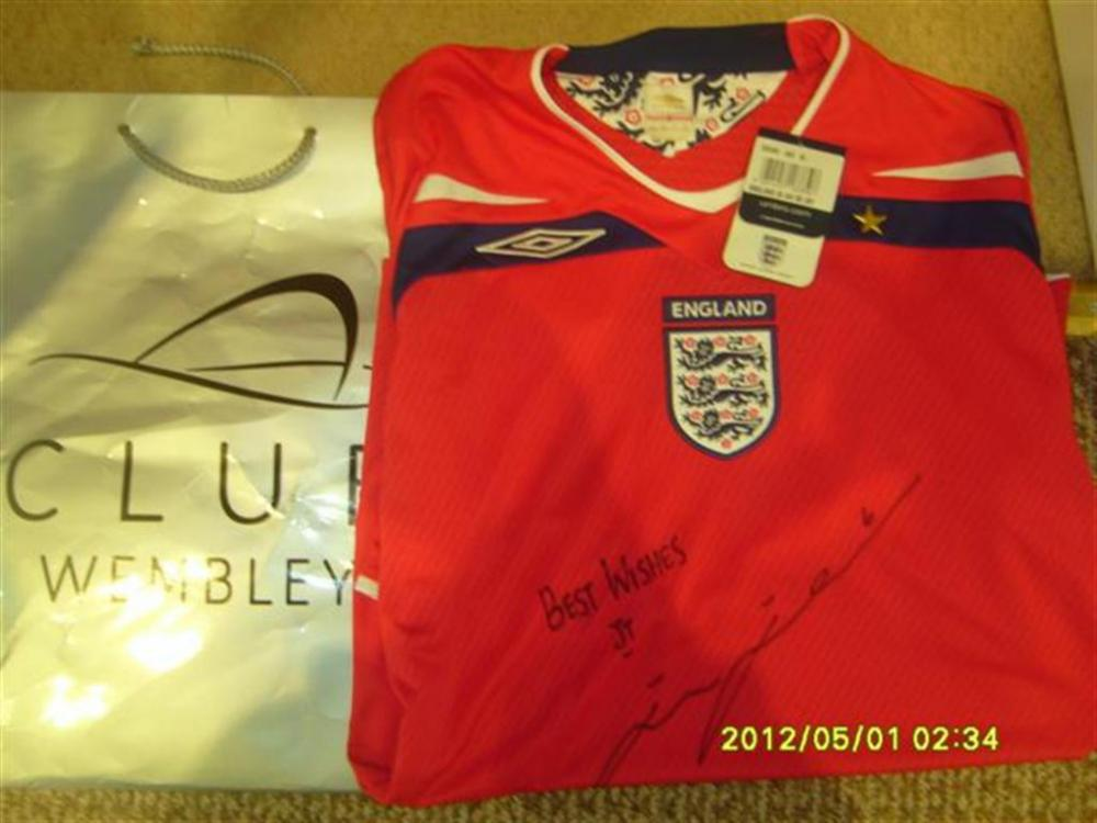 Lot 79 - Signed John Terry England Shirt, Give as a Club England prize during a game.