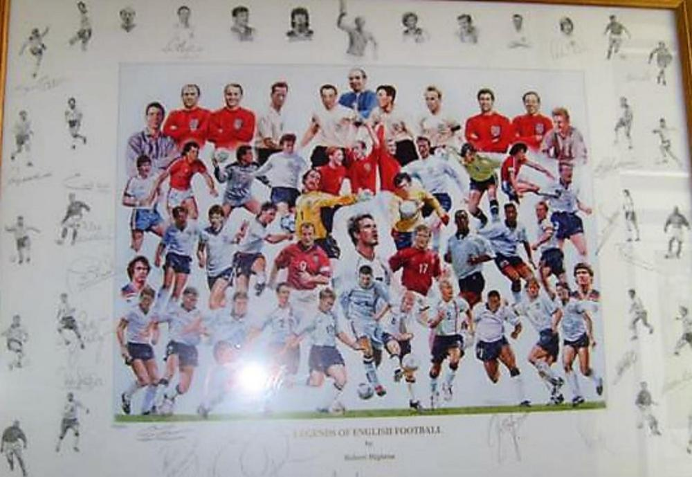 Lot 82 - Signed Legends of English Football Print. Signed by  1. Gary Neville 2. Steve Coppell 3. Bryan Robson 4. Gordon Banks 5. John Barnes 6. Sir Geoff Hurst 7. Ray Clemence 8. Phil Neville 9. Ian Wright 10.Phil Neal 11.Kevin Keegan 12.Paul Scholes 13.Sir Tom Finney 15.Chris Waddle 16. Colin Bell 17.Gareth Southgate 18. Terry Butcher 19. Peter Beardsley plus more