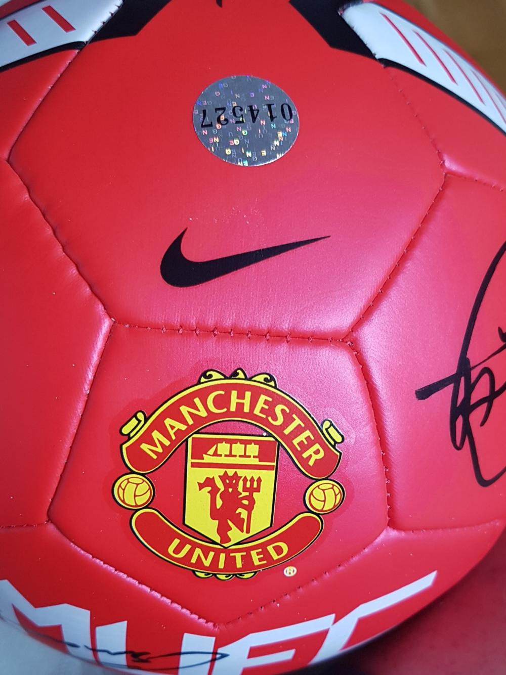 Lot 86 -  Signed Manchester United Football from 2011 - Rio, Vidic, Carrick Evra, Smalling ETC.
