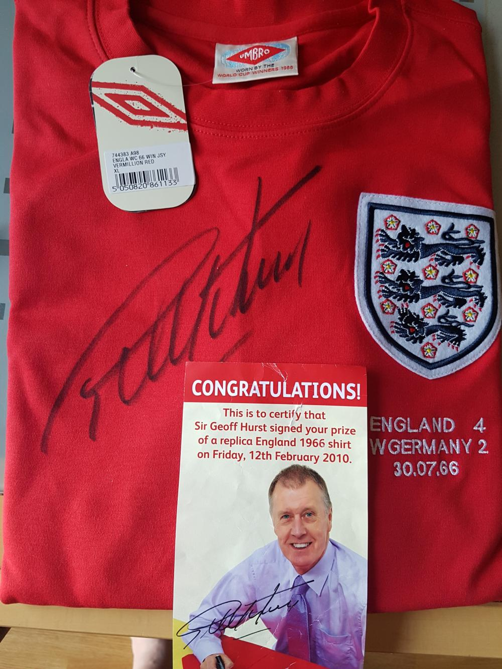 Lot 128: Geoff Hurst Signed England Shirt - Sir Geoffrey Charles Hurst MBE (born 8 December 1941)[1] is a former England international footballer. A striker, he remains the only man to score a hat-trick in a World Cup final as England recorded a 4?2