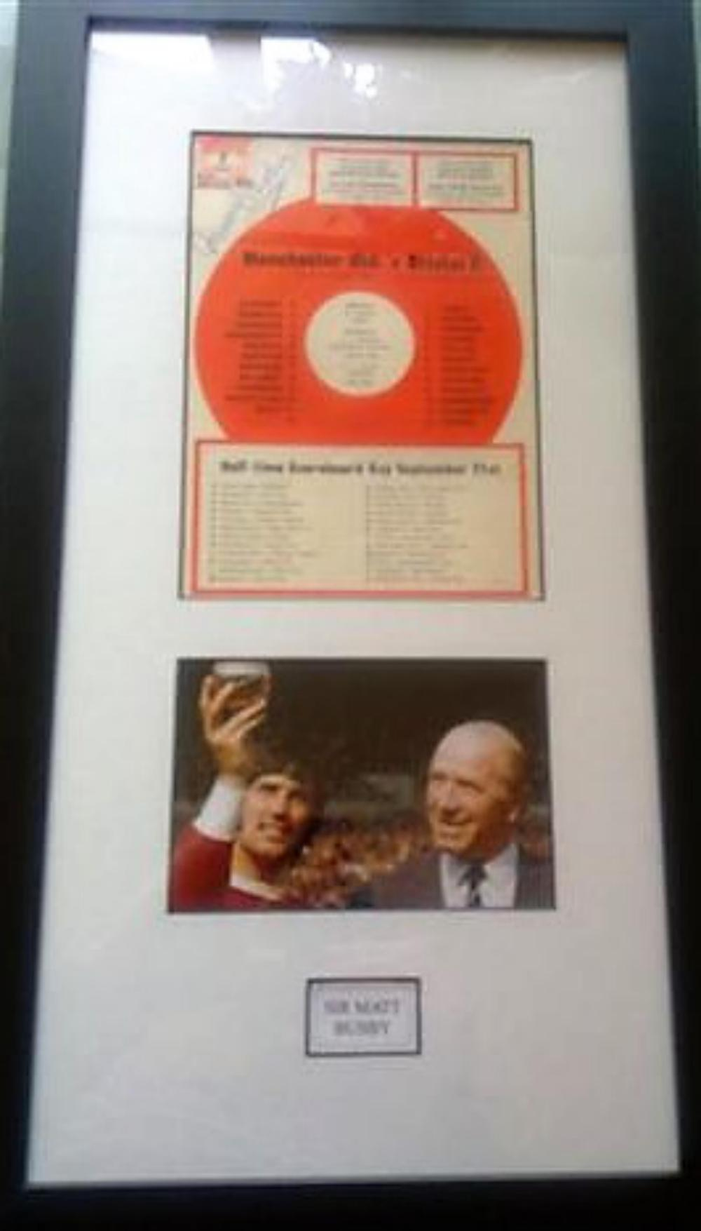 Lot 33 - Sir Matt Busby Framed and  Signed Programme - Key facts he built the famous Busby Babes team. In a total of 25 years with the club, he won 13 trophies. During his time at City, Busby played in two FA Cup Finals, winning one of them. After his