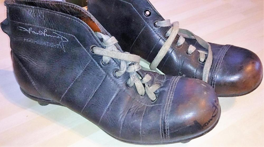 Lot 36 - RARE - Signed Old Football Boots  by Sir Tom Finney.  Wooden studs and remind of steel toe capped boots that builders wear today.  Boots in excellent condition