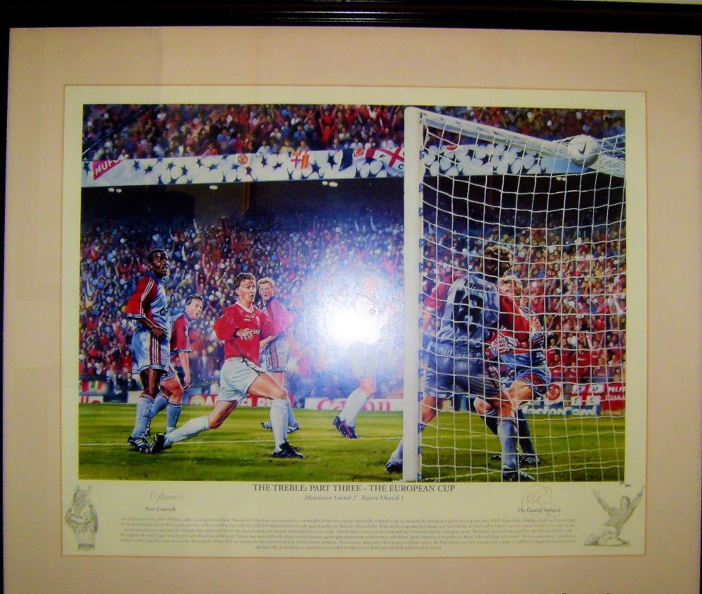 Lot 40 - Treble Season Part 3 - Print of winning goal in the 1999 European Cup Final scored byOle Gunnar Solskjâr. This was the final piece of Treble after winning the League and FA Cup in 1999. Ole Gunnar Solskjâr (Norwegian pronunciation: