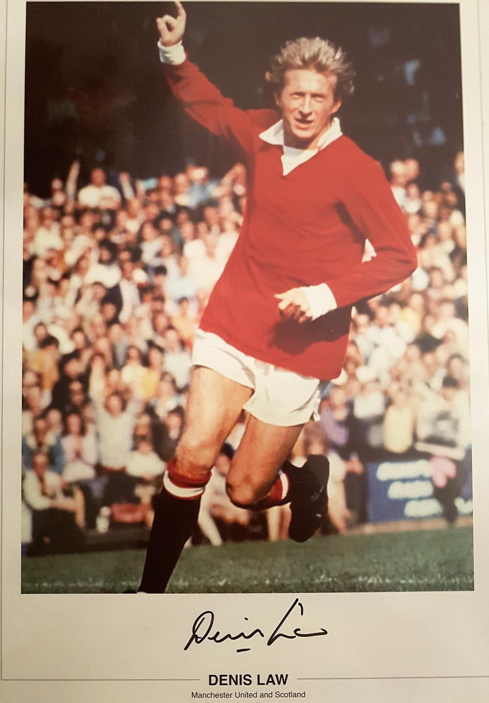 Lot 133: Denis Law signed print (no 3) - Denis Law signed for Manchester United in 1962, setting another British record transfer fee of œ115,000. He spent 11 years at Manchester United, where he scored 237 goals in 404 appearances. His goals tally