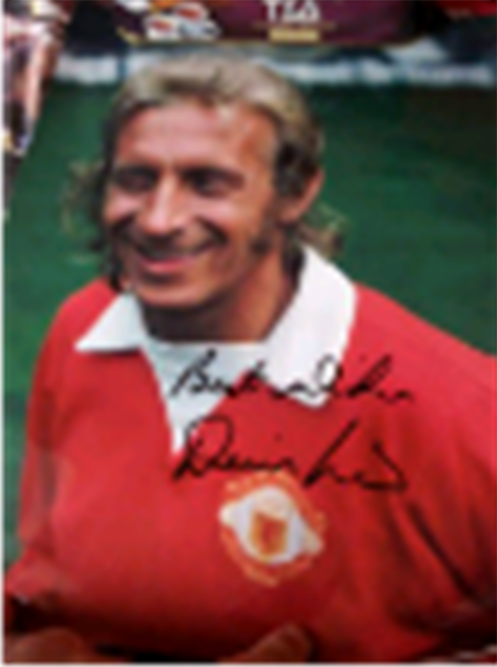 Lot 131: Signed Denis Law colour picture (No 1) - Denis Law signed for Manchester United in 1962, setting another British record transfer fee of £115,000. He spent 11 years at Manchester United, where he scored 237 goals in 404 appearances. His