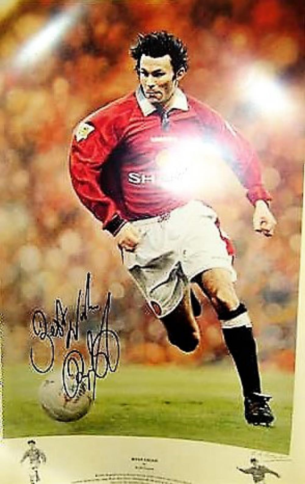 Lot 149: RYAN GIGGS Manchester United Legend Signed Print - Winner of 13 Premier League Titles, 4 x FA & League Cups, 9 x Community Shields and 2 x Champions League trophies.
