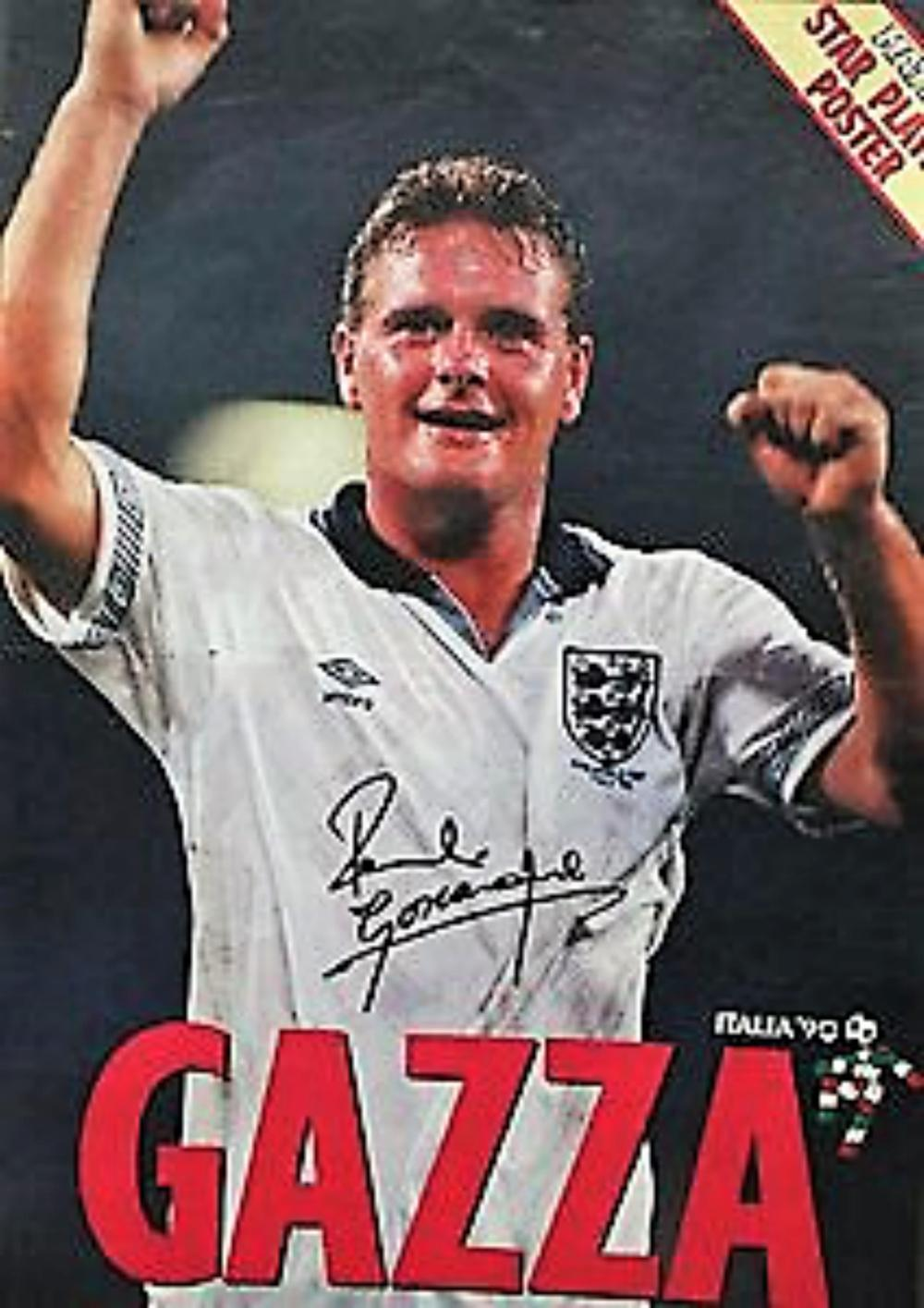 Lot 152: Paul Gascoigne Signed Poster (1990 Match Football Magazine) Paul John Gascoigne (born 27 May 1967) is a former England international footballer and football manager. He is also known by his nickname, Gazza. He earned 57 caps during his