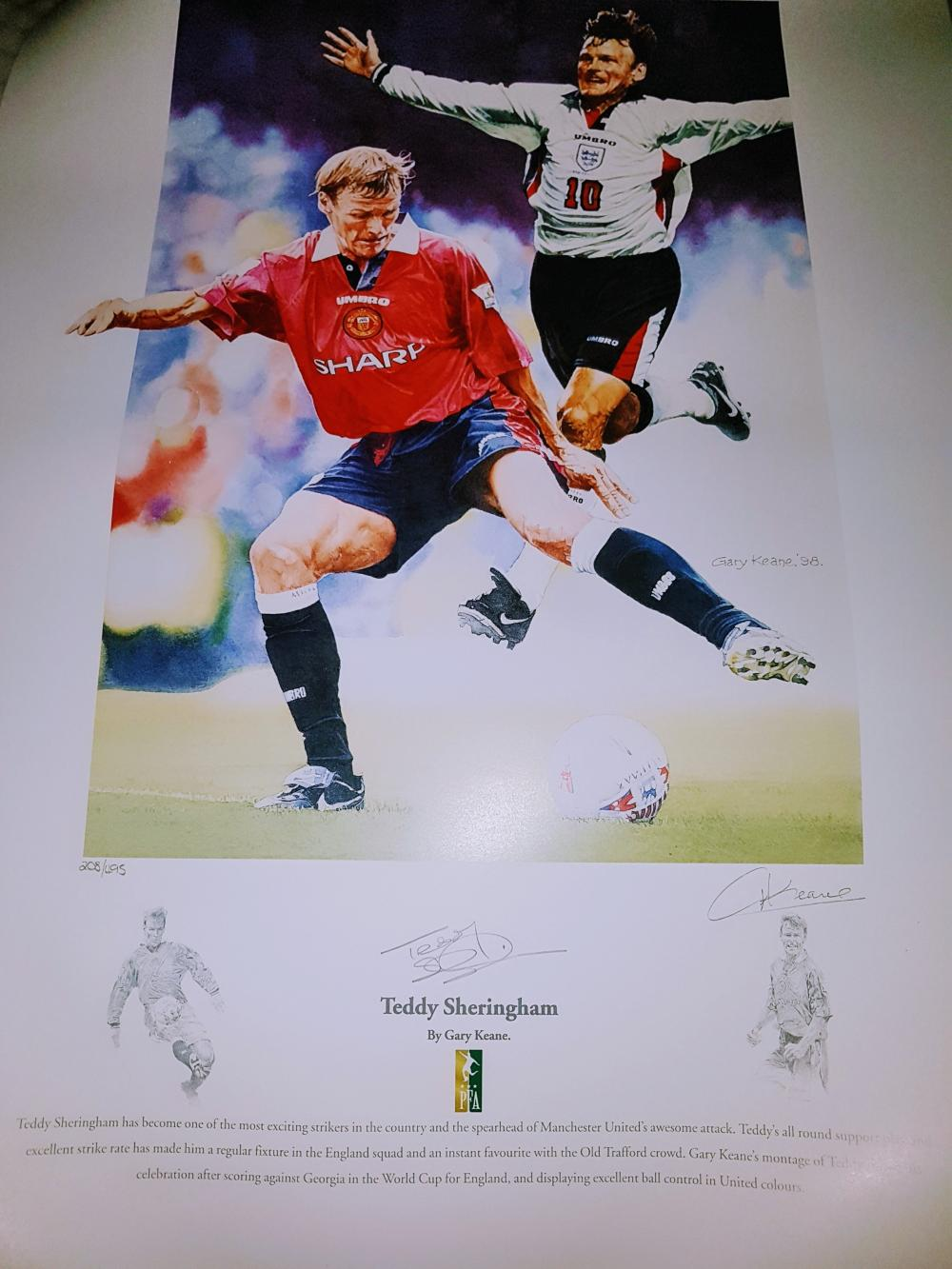 Lot 178: Signed Football Print by ex Manchester United & England player  Teddy Sheringham