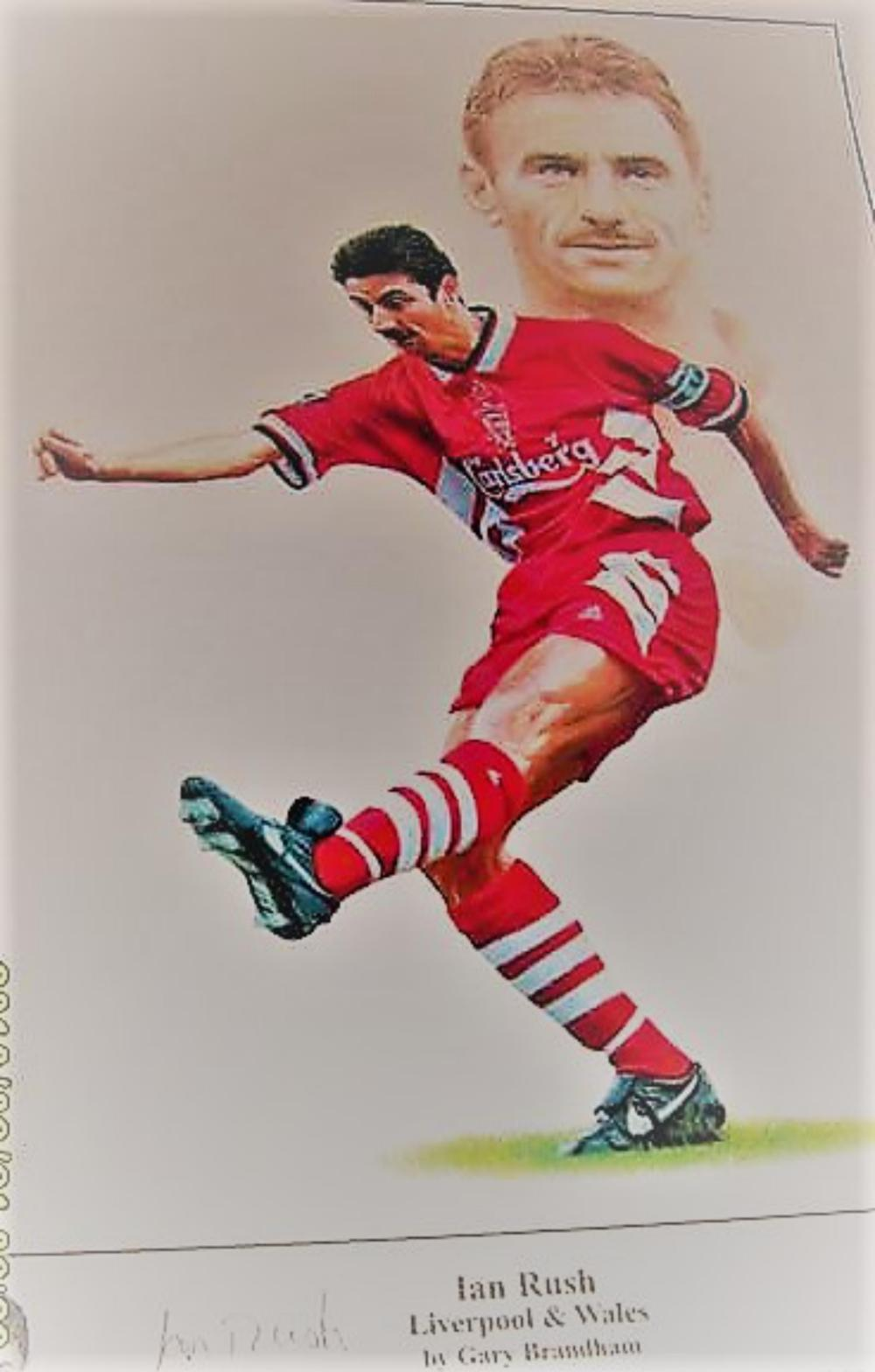 Lot 191: Signed Limited Edition print of Wales and Liverpool Football club Legend Ian Rush - Ian James Rush, MBE (born 20 October 1961) is a retired Welsh professional footballer who also a Goal King for Liverpool.