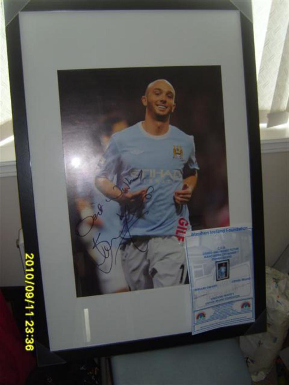 Lot 196 - Signed and framed print of Rep of Ireland and Manchester City Former Midfielder  Stephen Ireland