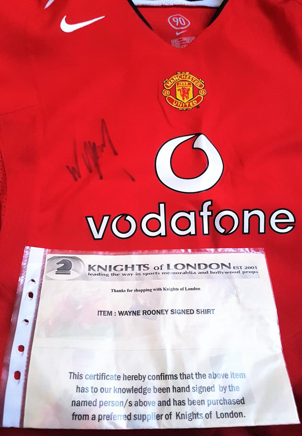 Lot 205 - Wayne Rooney signed Manchester United Shirt collected at Manchester United's Training Ground in Carrington