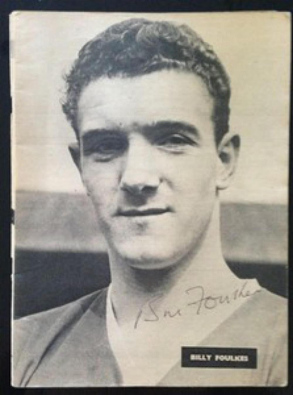 Lot 211: Signed black and white full page magazine poster  signed by Bill Foulkes - Munich Air Disaster survivor and Busby Babe who played 686 times for the club and scored 9 goals.
