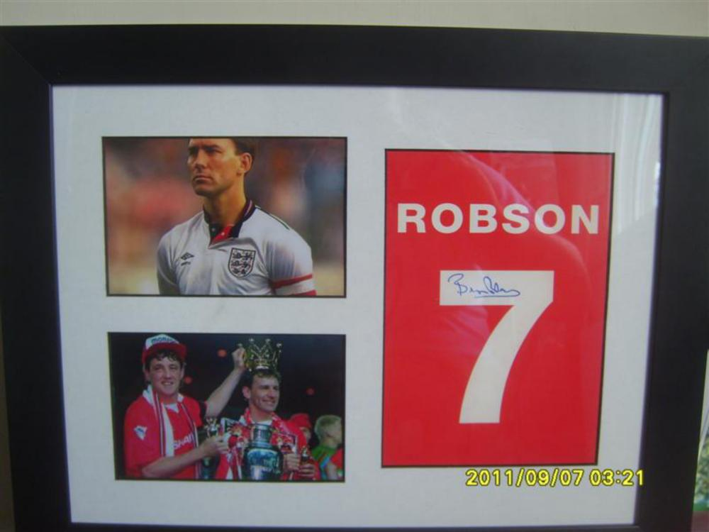 Lot 201: Signed and Framed Bryan Robson Montage of pictures
