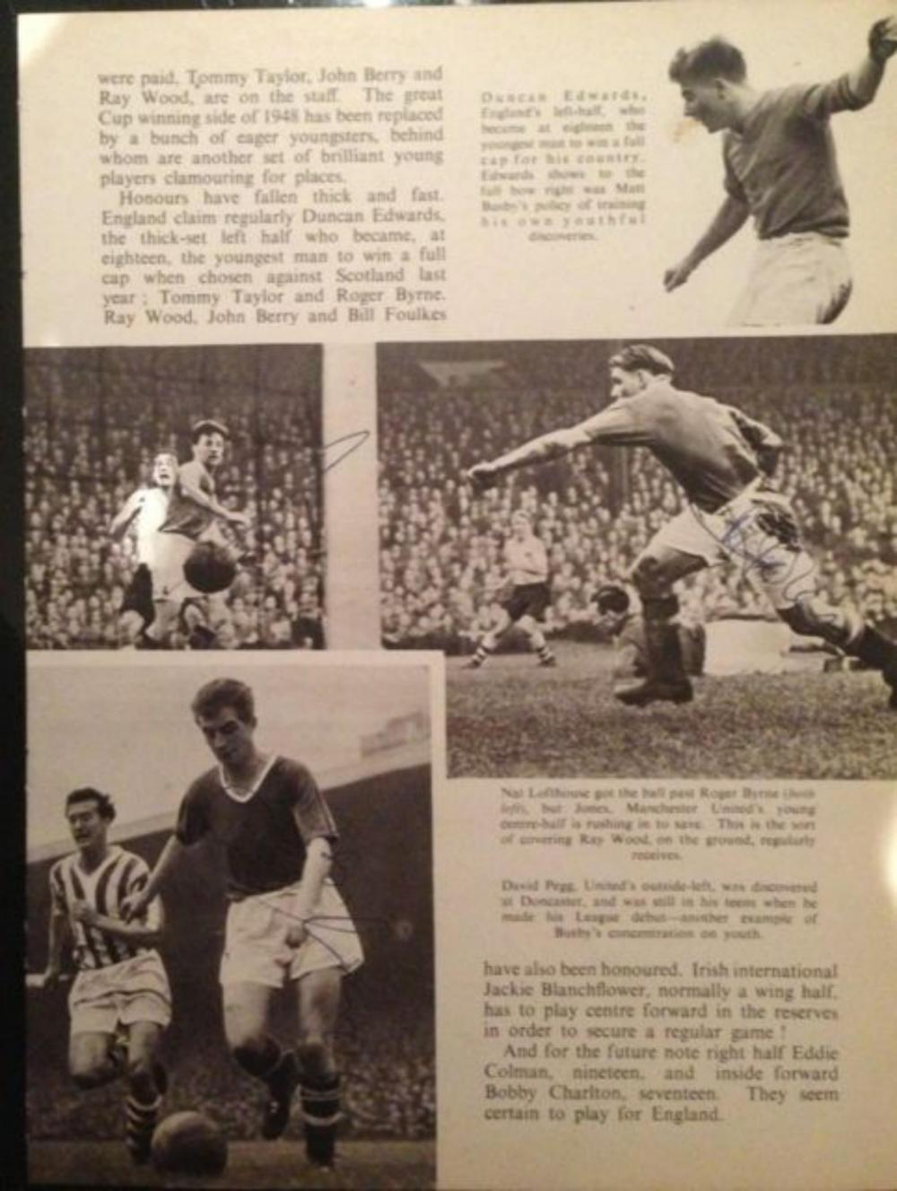 Lot 215: Signed Newspaper page of Mark Jones David Pegg Roger Byrne Busby Babes Manchester United