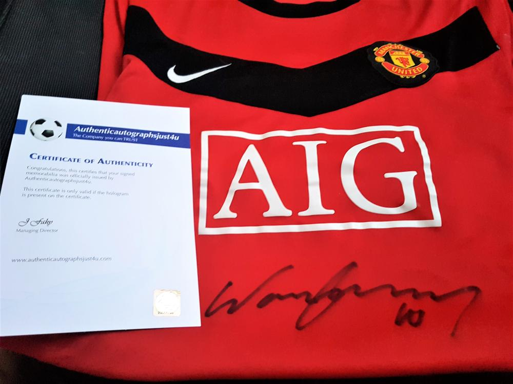 Lot 240: Signed Manchester United Football  Shirt by Wayne Rooney