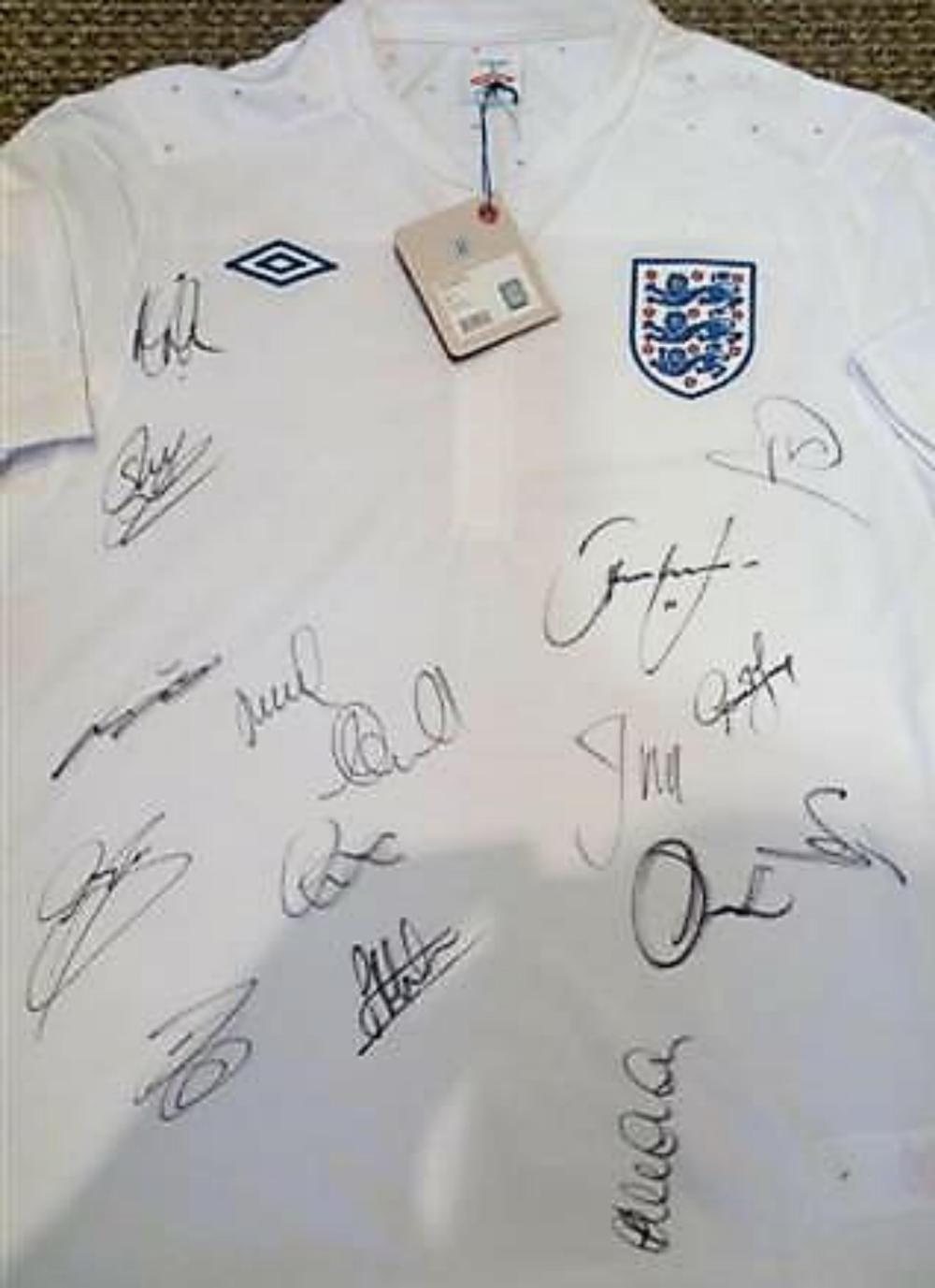 Lot 290: Multi Signed England Football Shirt from 2011/2012