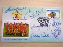 RARE - Signed First Day Cover by Legends Bobby Moore, George Best,