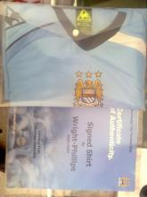 Signed Manchester City Football Shirt by Sean Wright Phillips