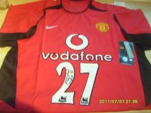 Signed Manchester Home United Football Shirt  by Silvestre
