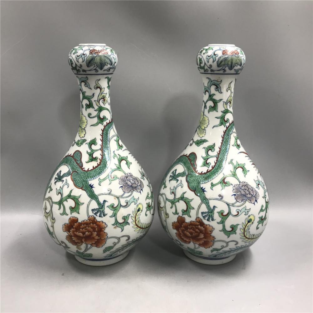 Qing Dynasty Qianlong Doucai Dragon and Phoenix Garlic Vase (2 pcs)