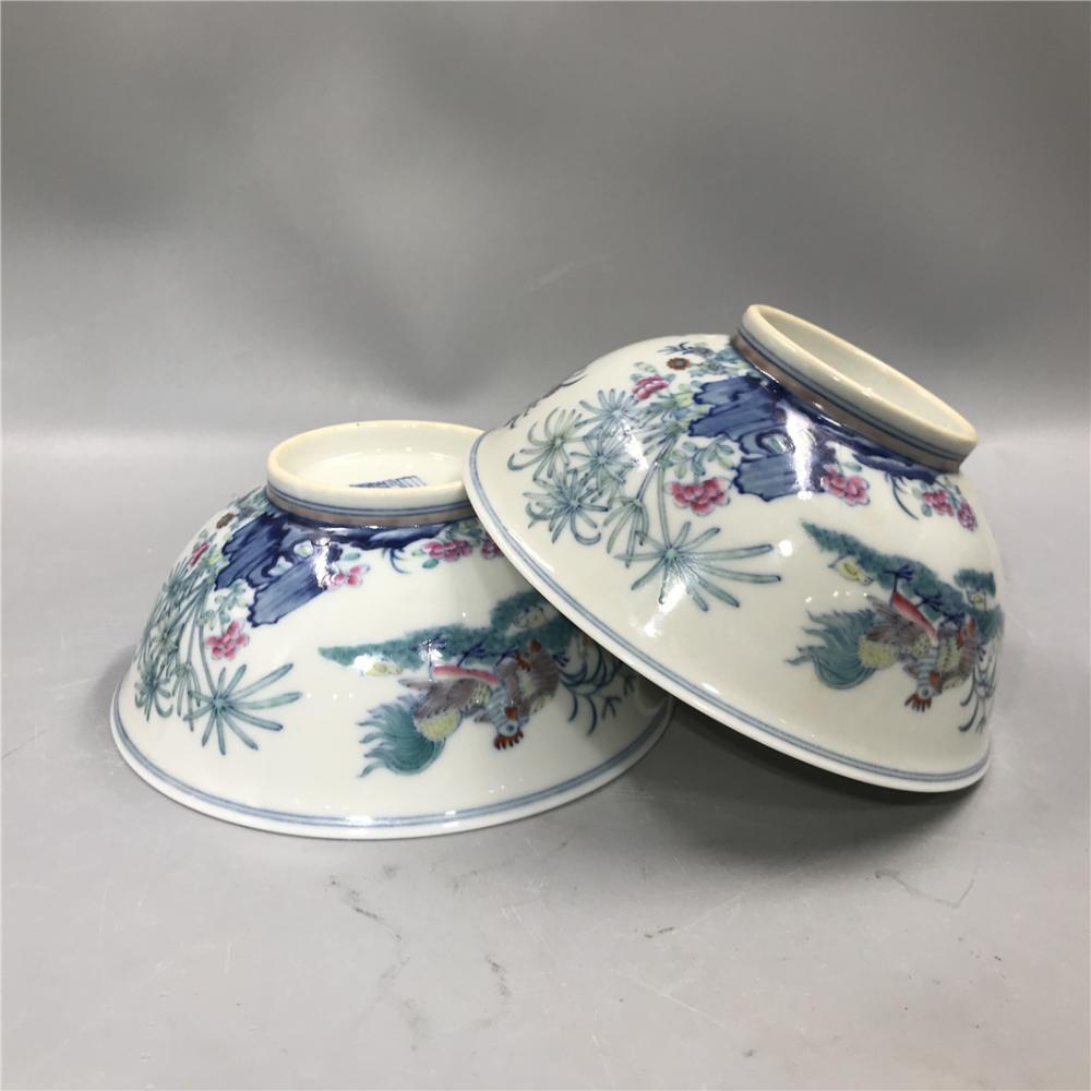 Qing Dynasty Qianlong Doucai Chicken Pattern Bowl (2 pcs)