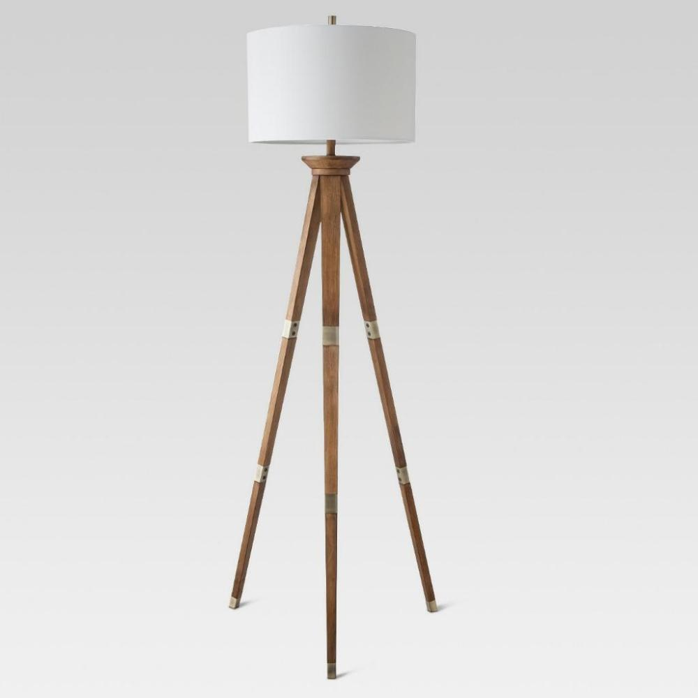 Oak Finish Tripod Floor Lamp