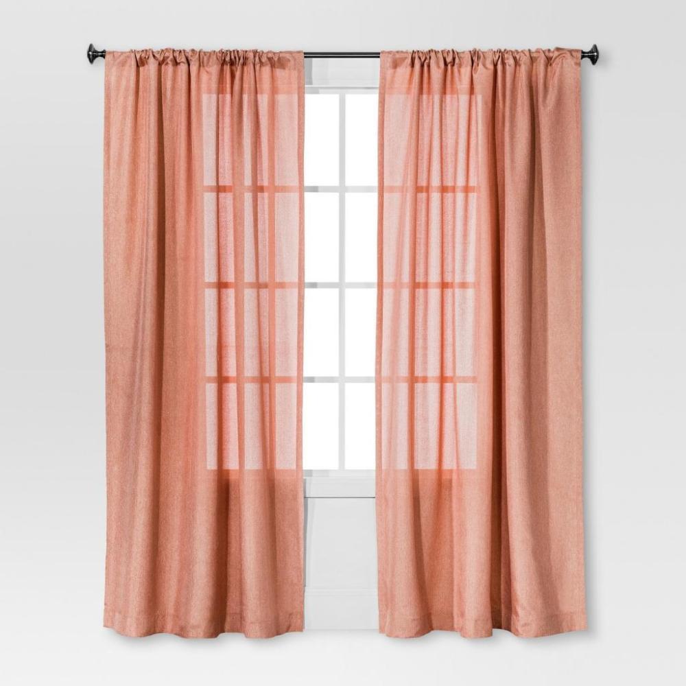 Solid Metallic Window Curtain Panel - Threshold