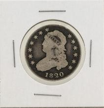 1820 Capped Bust Quarter Silver Coin