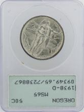 1938-D Oregon Trail Memorial Commemorative Half Dollar Coin PCGS MS65