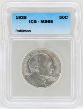1936 Arkansas Centennial Robinson Commemorative Half Dollar Coin ICG MS65