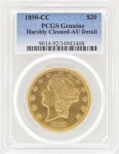 1890-CC $20 Liberty Head Double Eagle Gold Coin PCGS AU Details