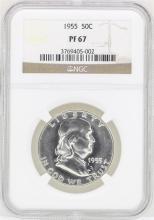 1955 Franklin Half Dollar Proof Coin NGC PF67
