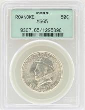 1937 Roanoke Island North Carolina Commemorative Half Dollar Coin PCGS MS65
