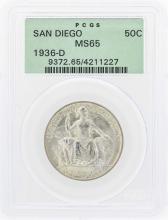 1936-D San Diego Commemorative Half Dollar Coin PCGS MS65