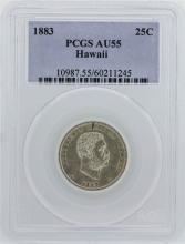 1883 Kingdom of Hawaii Quarter Coin PCGS AU55
